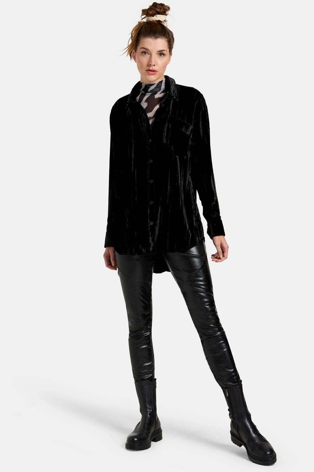 Eksept by Shoeby blouse Opera met sierstenen zwart, Zwart