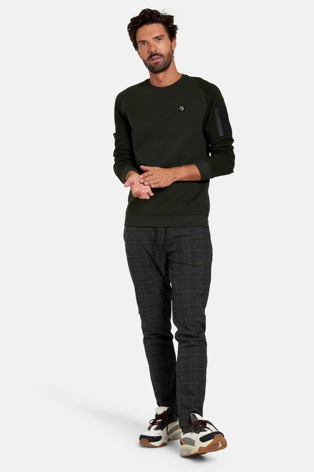 Refill by Shoeby sweater Radison met logo en textuur donkergroen, Donkergroen
