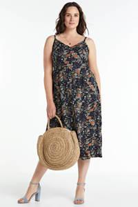 Zizzi gebloemde maxi jurk donkerblauw/multi, Donkerblauw/multi