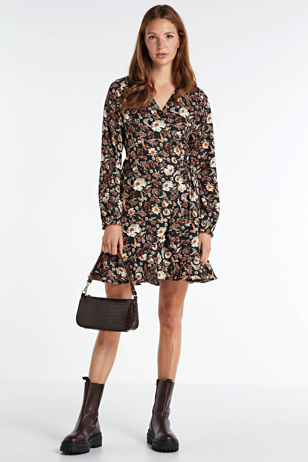anytime wikkellook jurk met bloemenprint zwart, Zwart/groen/rood