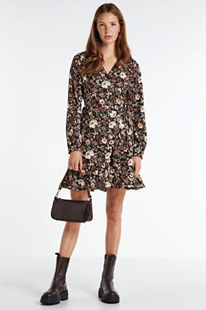 wikkellook jurk met bloemenprint zwart
