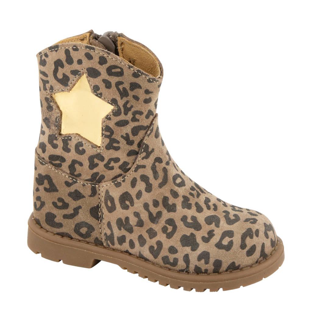 Elefanten   suède laarzen met panterprint bruin, Bruin/goud