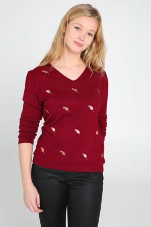 fijngebreide trui met borduursels rood/goud