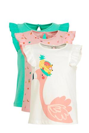 T-shirt - set van 3 ecru/roze/groen
