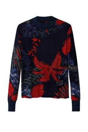fijngebreide trui met all over print donkerblauw/rood/groen