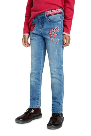 skinny jeans met printopdruk en borduursels denim medium wash