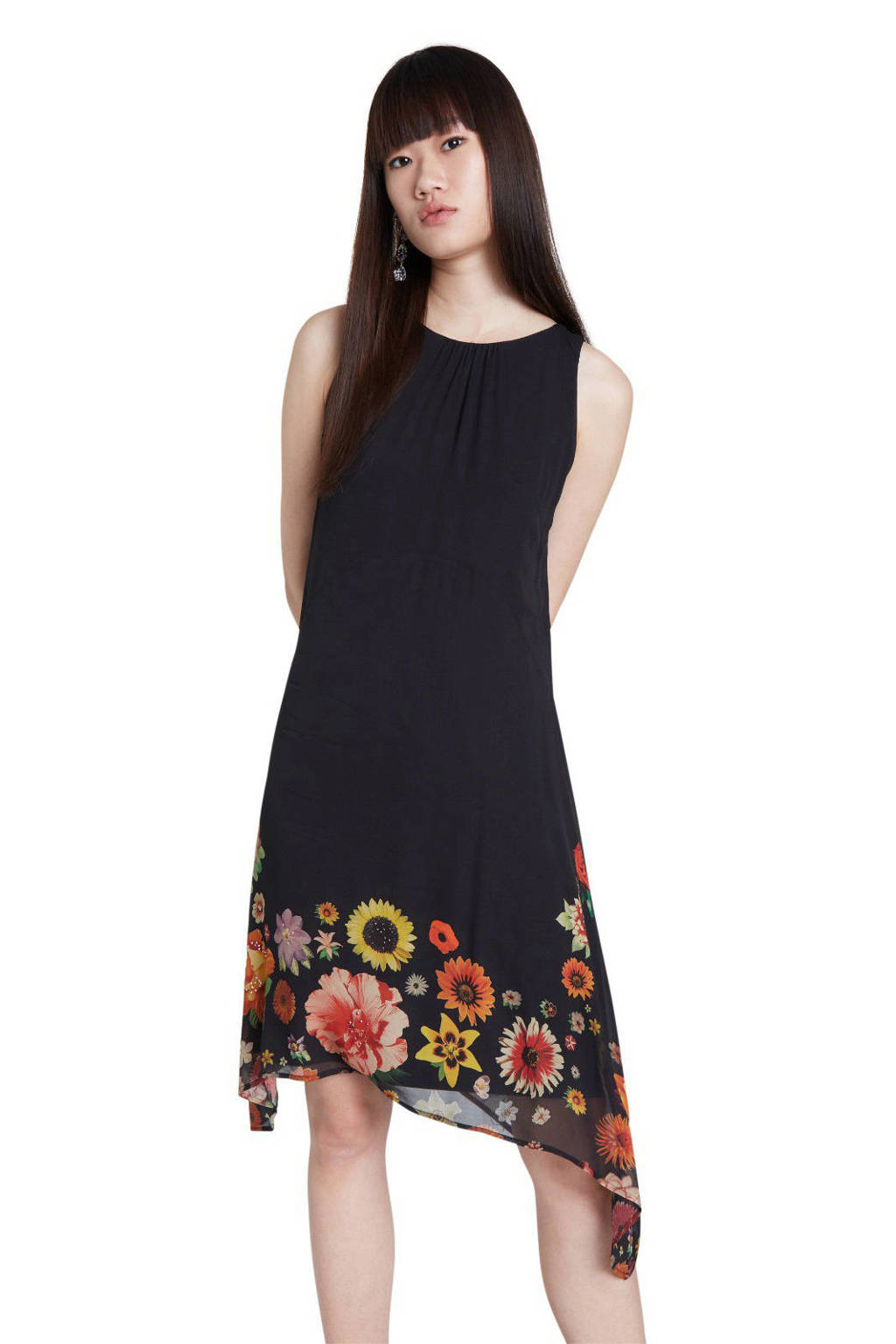 Desigual gebloemde jurk zwart/rood/geel, Zwart/rood/geel