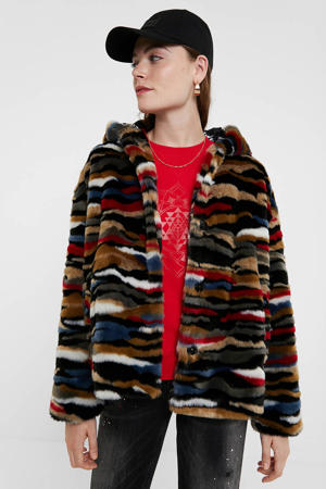 imitatiebont jasje met dierenprint bruin/rood/zwart