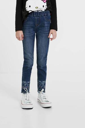 skinny jeans met borduursels blue denim