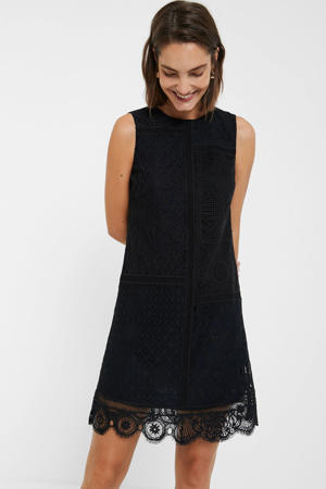 jurk met kant zwart/donkerblauw