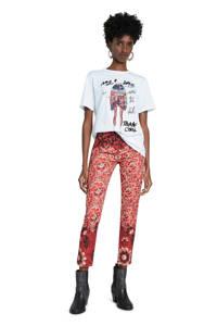 Desigual T-shirt met printopdruk en pailletten wit/zwart/rood, Wit/zwart/rood