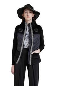 Desigual gewatteerde jas met borduursels zwart/wit, Zwart/wit