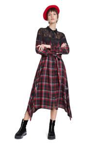 Desigual geruite semi-transparante blousejurk rood/zwart/grijs, Rood/zwart/grijs