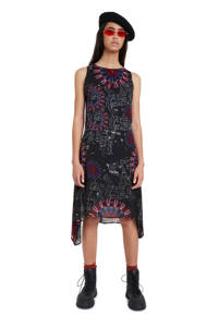 Desigual semi-transparante jurk met all over print zwart/rood/blauw, Zwart/rood/blauw