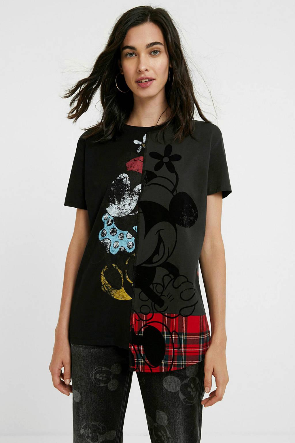 Desigual Mickey Mouse T-shirt met printopdruk zwart/rood/antraciet, Zwart/rood/antraciet