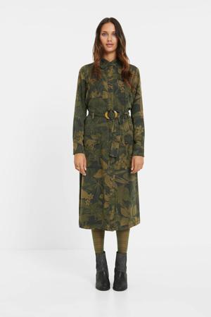 blousejurk met all over print en ceintuur donkergoen/lichtgroen/bruin