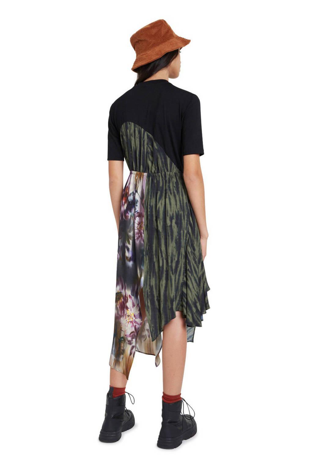 Desigual jurk met ruches zwart/groen, Zwart/groen