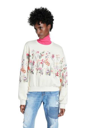 gebloemde sweater ecru/roze/groen