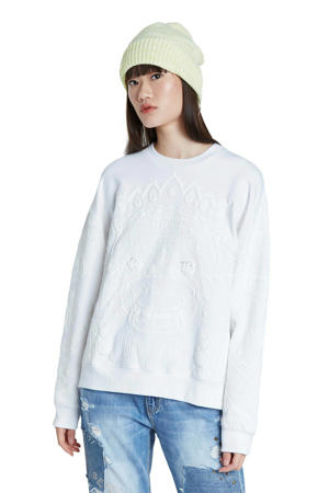 sweater met printopdruk wit/ecru