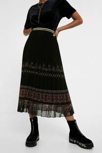 Desigual semi-transparante rok met printopdruk en glitters zwart/rood/bruin, Zwart/rood/bruin