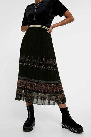 semi-transparante rok met printopdruk en glitters zwart/rood/bruin