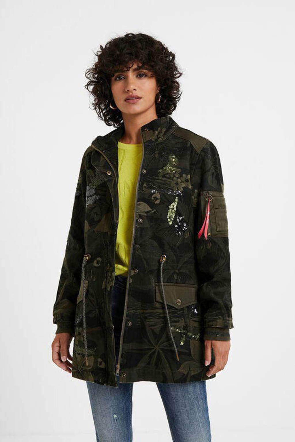 Desigual jasje met all over print en pailletten kaki/zwart/paars, Kaki/zwart/paars