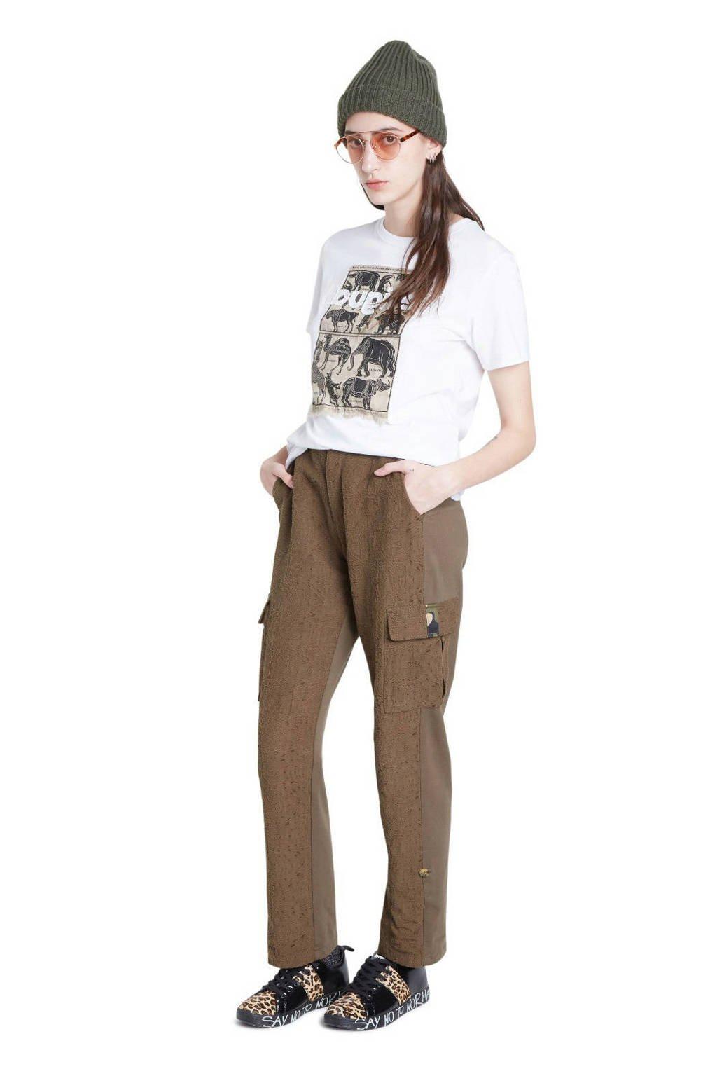 Desigual T-shirt met printopdruk en pailletten wit/bruin/zwart, Wit/bruin/zwart