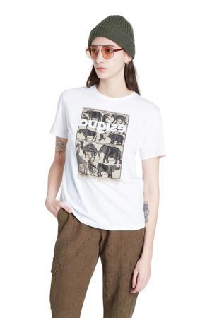 T-shirt met printopdruk en pailletten wit/bruin/zwart