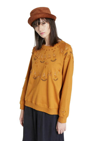 sweater met borduursels okergeel