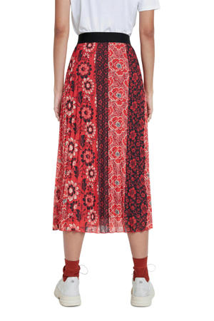 semi-transparante plissé rok met all over print rood/zwart/wit