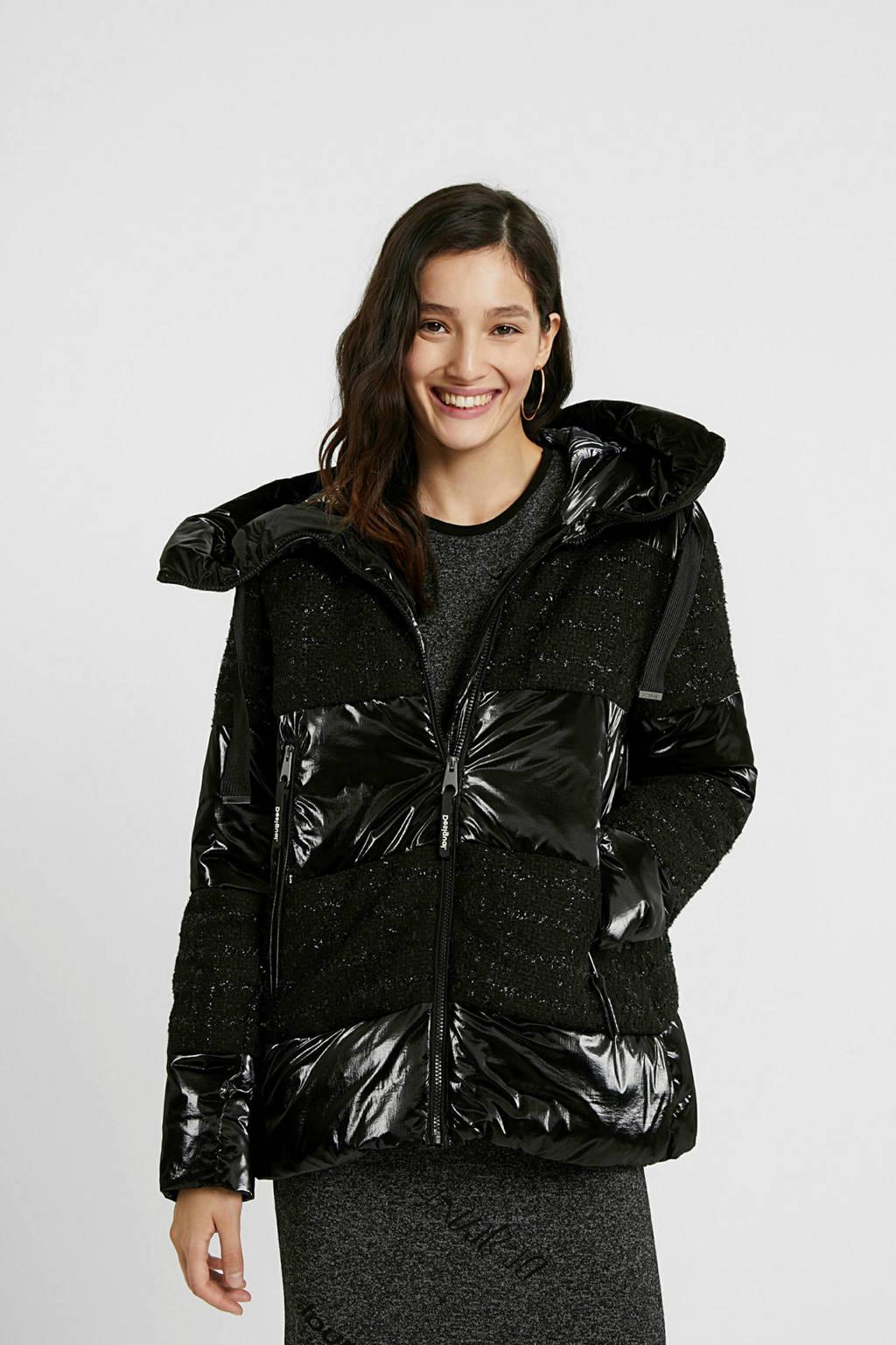 Desigual coated gewatteerde jas zwart, Zwart