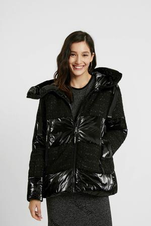 coated gewatteerde jas zwart