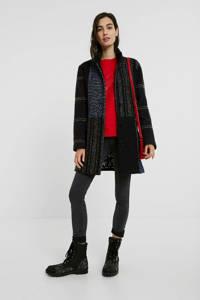 Desigual coat met wol en visgraat zwart/donkerblauw/rood, Zwart/donkerblauw/rood