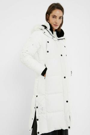 gewatteerde jas met strass steentjes wit/zilver/zwart