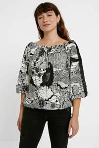 Desigual off shoulder top met all over print en kant zwart/beige, Zwart/wit