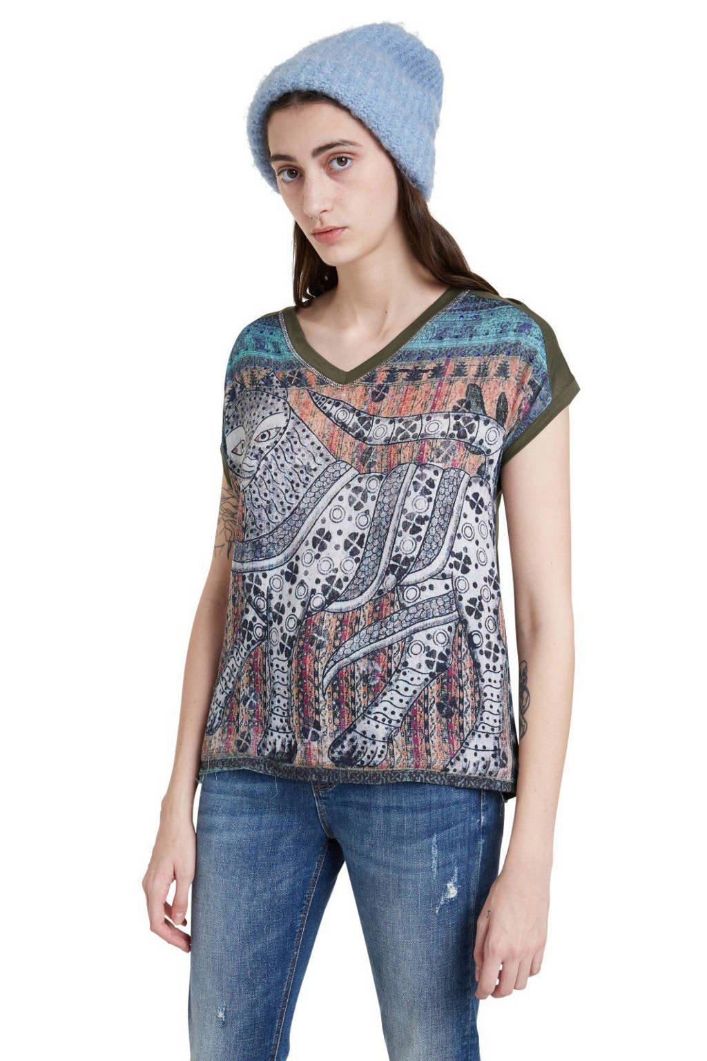 Desigual T-shirt met printopdruk donkergroen/wit/blauw, Donkergroen/wit/blauw