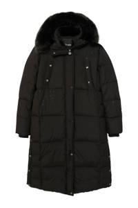 Desigual gewatteerde jas met strass steentjes zwart/zilver, Zwart/zilver