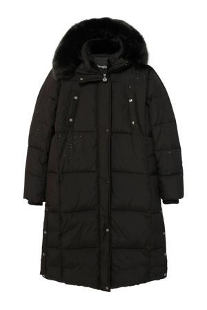 gewatteerde jas met strass steentjes zwart/zilver
