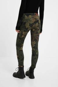 Desigual skinny cargobroek met all over print en pailletten kaki/zwart/paars, Kaki/zwart/paars