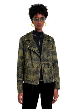 bikerjack met camouflageprint groen