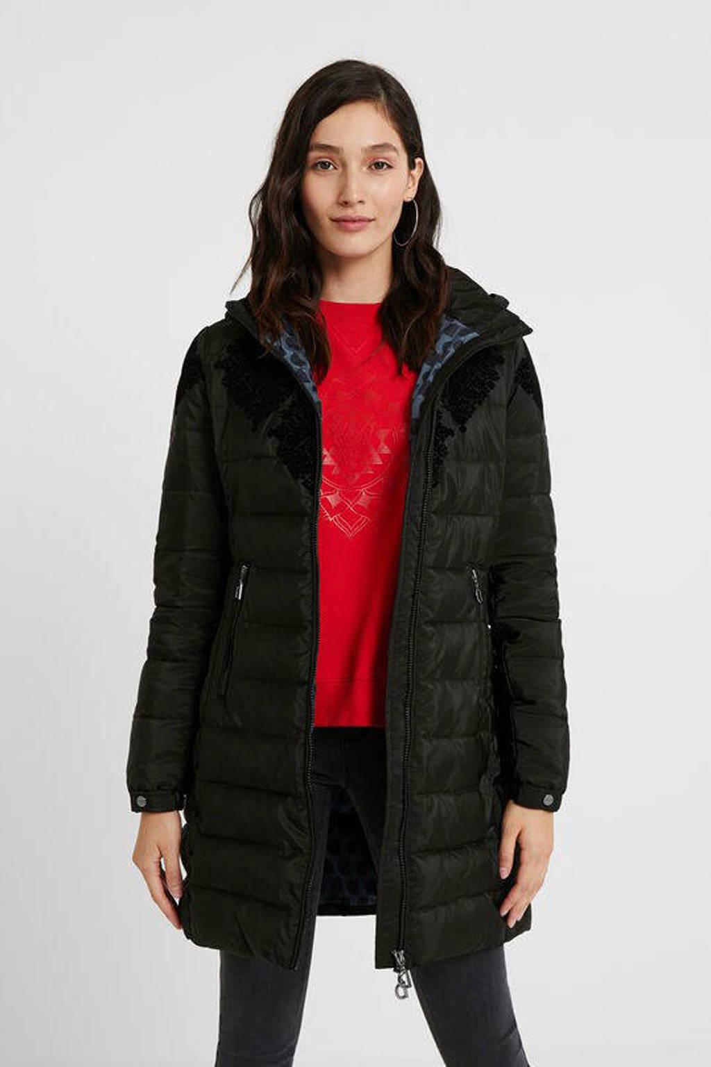 Desigual gewatteerde jas met printopdruk zwart, Zwart