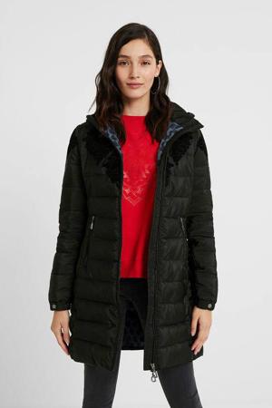 gewatteerde jas met printopdruk zwart