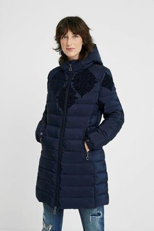 gewatteerde jas met printopdruk donkerblauw/zwart