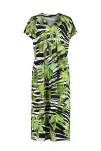 Claudia Sträter jurk met all over print en ceintuur groen/zwart/wit, Groen/zwart/wit