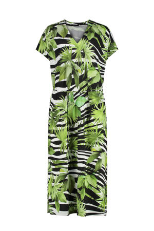 jurk met all over print en ceintuur groen/zwart/wit