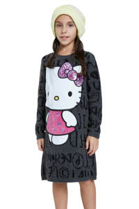 Desigual Hello Kitty jurk grijs melange, Grijs melange
