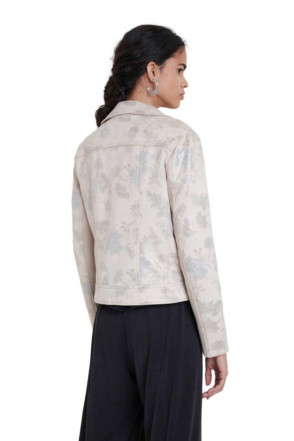 Desigual coated jasje met all over print ecru, Ecru