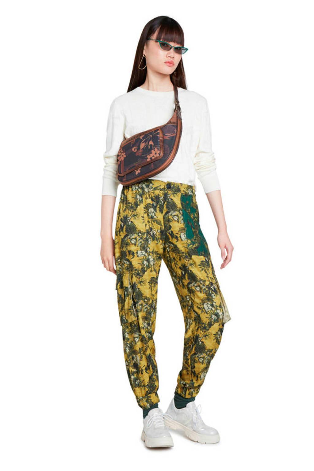 Desigual high waist regular fit cargobroek met all over print geel/groen, Geel/groen