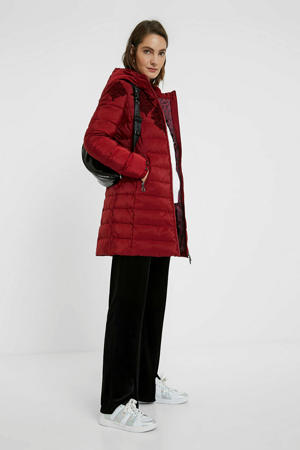 gewatteerde jas met printopdruk rood/donkerrood