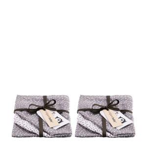 Minimal Dots  hydrofiel washandje - 2x set van 3 grijs